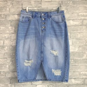 Guess   Luzy Button Fly Distressed Denim Skirt